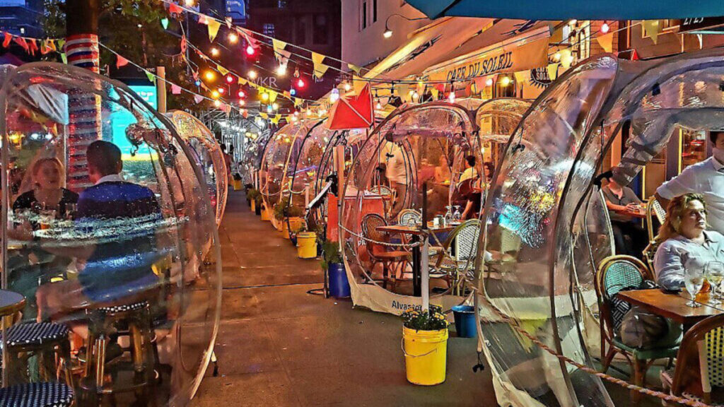 Plastic globes used for outdoor dining in New York City