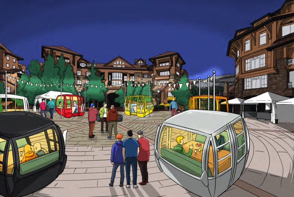 Artist rendering of Telluride Converting Gondola Cars Into Dining Cabins