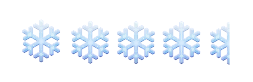 Four and a half snow flake emjis pictured