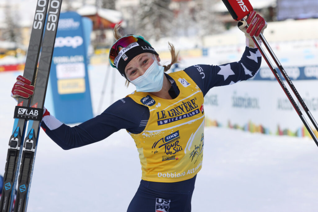 Jessie celebrates winning a Tour de Ski, women's 10k freestyle cross-country event, in January