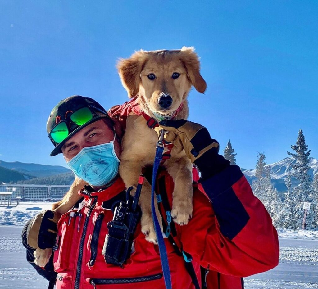 Māia trains as an avalanche dog for Vail Resorts with handler Zak Bloom