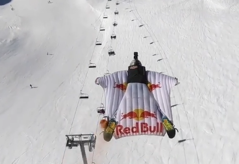 Amazing Video of a Wingsuit Flight Through a Ski Resort