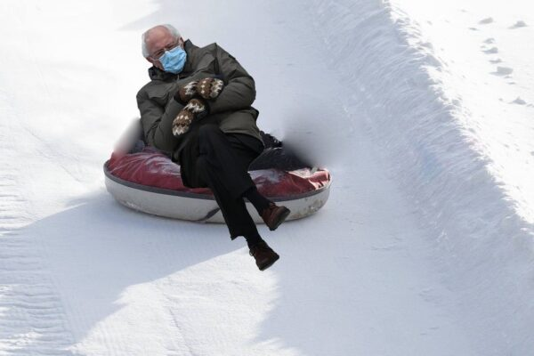Bernie Sanders Meme of him snow tubing